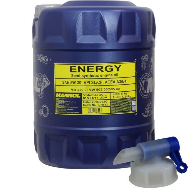 20 Litre MANNOL huile moteur Énergie 5W-30 Api Sl/ Cf Incl. Robinet de Vidange