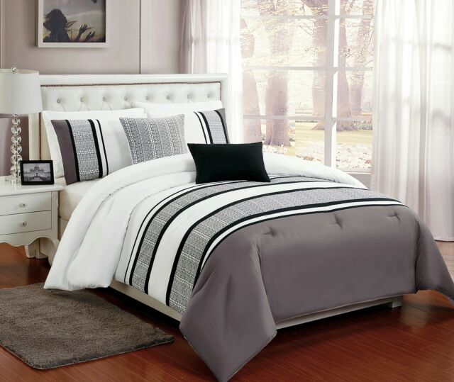 5 PC Grey, White & Black Comforter Set w/ Burnout Lace Design, Full Queen King