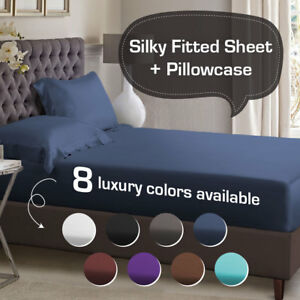 1000TC-Silky-Satin-Single-KS-Double-Queen-King-Size-Bed-Fitted-Sheet-Pillowcase