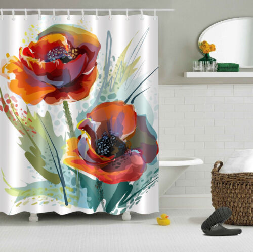 "72X72/""//72X79/""Bathroom Fabric Shower Curtain /& Mat Rug /&12pcs Hooks--Flowers 2408"