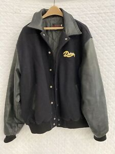 Mens-Durango-Varsity-Jacket-Genuine-Leather-Sleeve-Quilted-Lining-Size-3XL