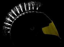 White Fiber Optic LED Light Up Glowing Helmet Mohawk Spike Biker MX ATV Street +