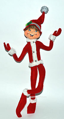 "TALL! Silver Sparkle 14"" RED ELF Poseable & Festive Christmas Annalee NEW!"