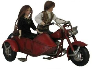 1-12-Massstab-Distressed-Rot-Bemalt-Motorrad-amp-Sidecar-Tumdee-Puppenhaus-Jahrgang