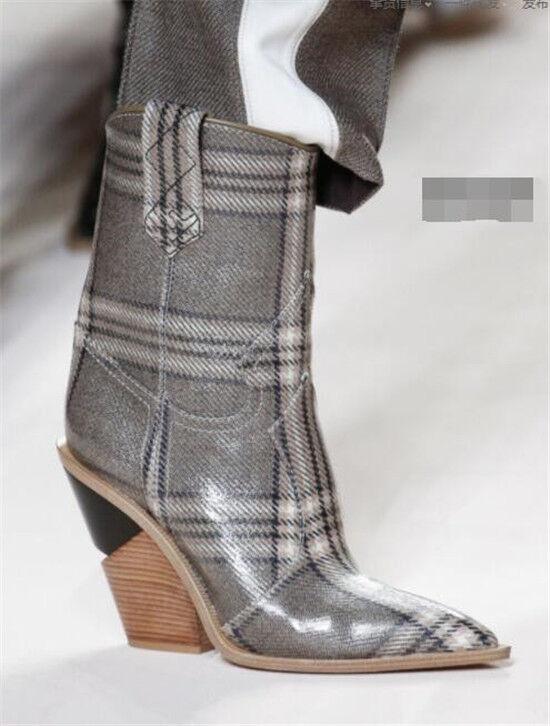 Débardeur Femme Fashion En Relief Bout Pointu À Enfiler Bottines Western Chaussures