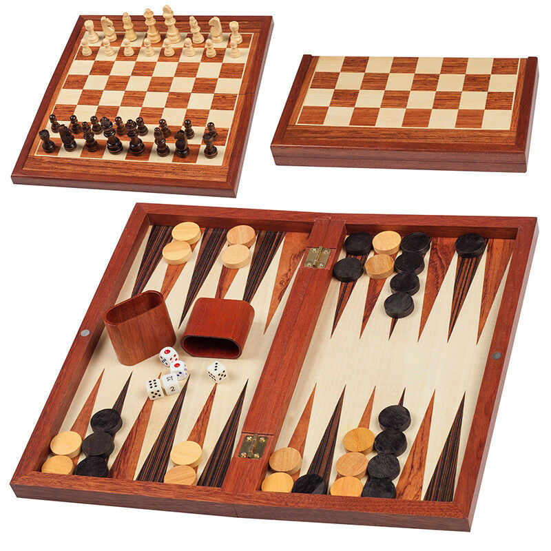 2 in 1 Hand Made LUXURY Wooden Chess set set set and Backgammon with Case by Grünini a47194