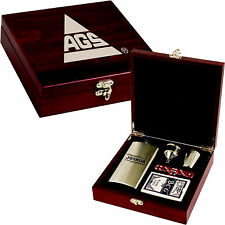 Personalized Box with Flask Dice Playing Cards Custom Valentines Day Gifts Him