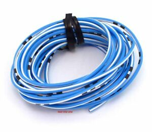 OEM Colored Electrical Wire 18 Gauge - 13\' Roll - Sky Blue / White ...