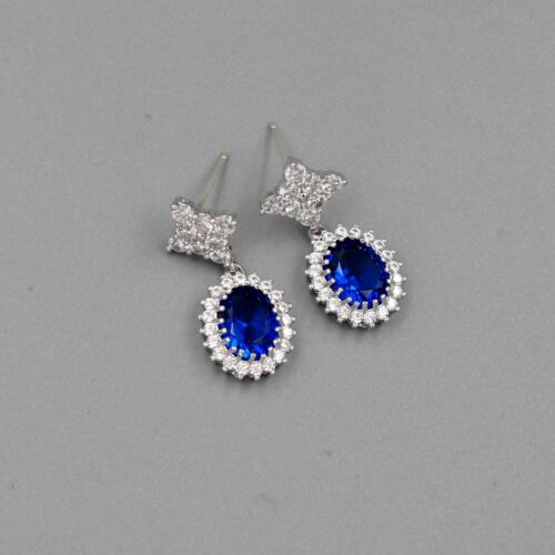 18K White Gold Plated blue Cubic Zirconia CZ Wedding Drop Dangle Earrings 00145