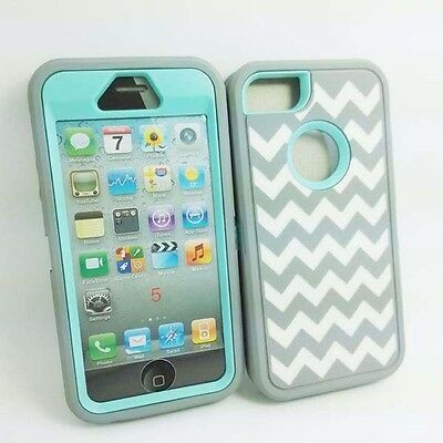 iPhone 5 5S Chevron Wave Hybrid Body Armor Silicone Cover Case Grey Baby Blue