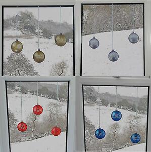Bauble-finestra-adesivi-si-aggrappa-riutilizzabili-NATALE-DECORAZIONI-rapide-semplici-Decalcomania