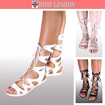 Mujer de las Señoras Con Cordones Sandalias Gladiador largo Talla 3-8 Reino Unido