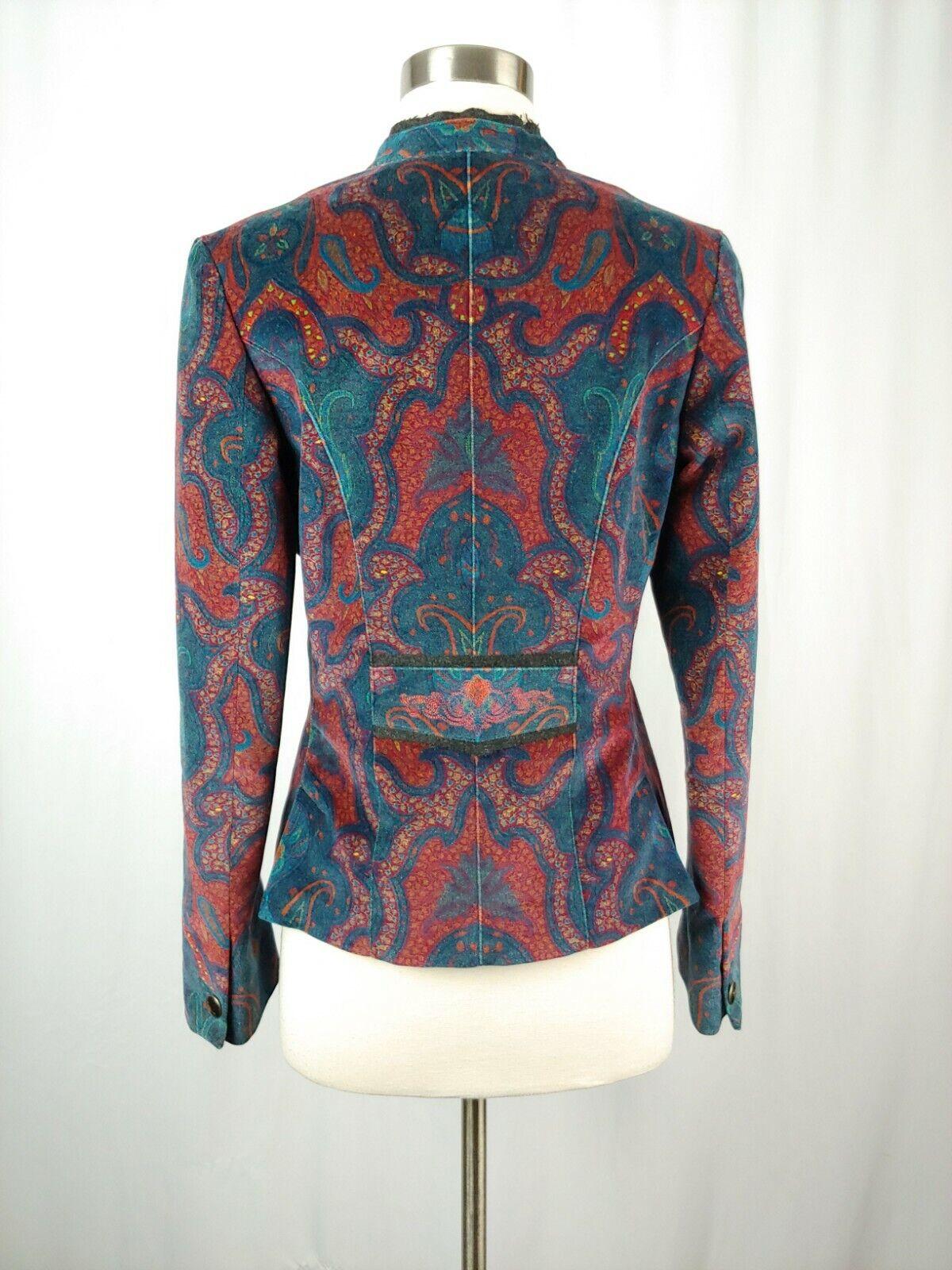 Robert Graham Women's 6 Red Print Velvet Blazer  - image 5
