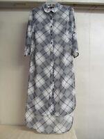 Women's Sz M Derek Heart Black & White Plaid Long Sheer Duster Blouse Jacket