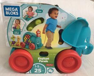 Rolling Pull Toy Mega Bloks Elephant Parade Building Kit 25 Pcs Blocks Set Gift