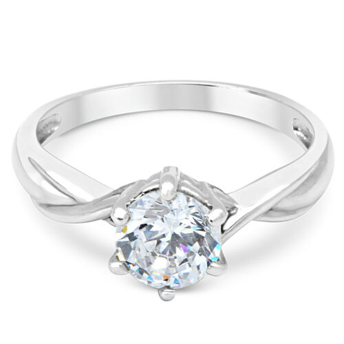 14K Solid White Gold CZ Cubic Zirconia Solitaire Engagement Promise Ring