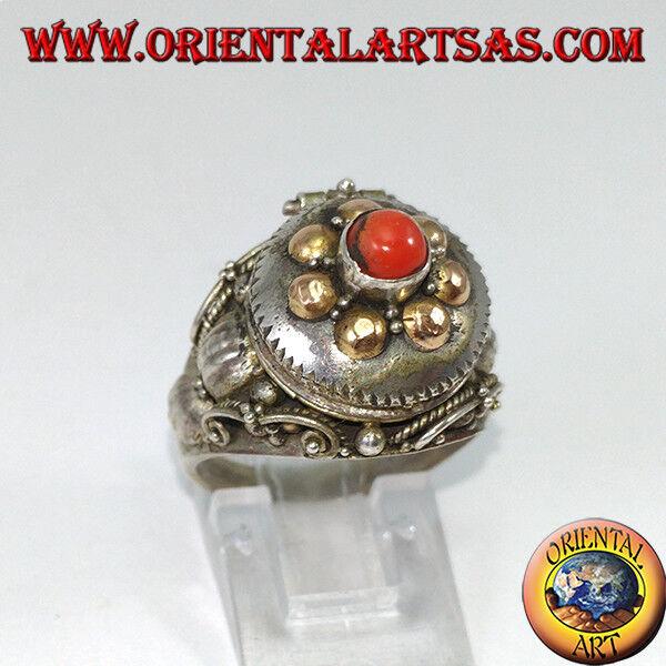 925 silver ring ‰ in box poison tür mit kugeln in gold und koralle