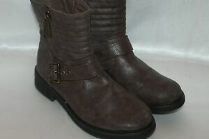 33f21c89eb7 STEVE MADDEN Taupe Faux Leather ARRMOR Moto Buckle Zip Ankle Boots ...