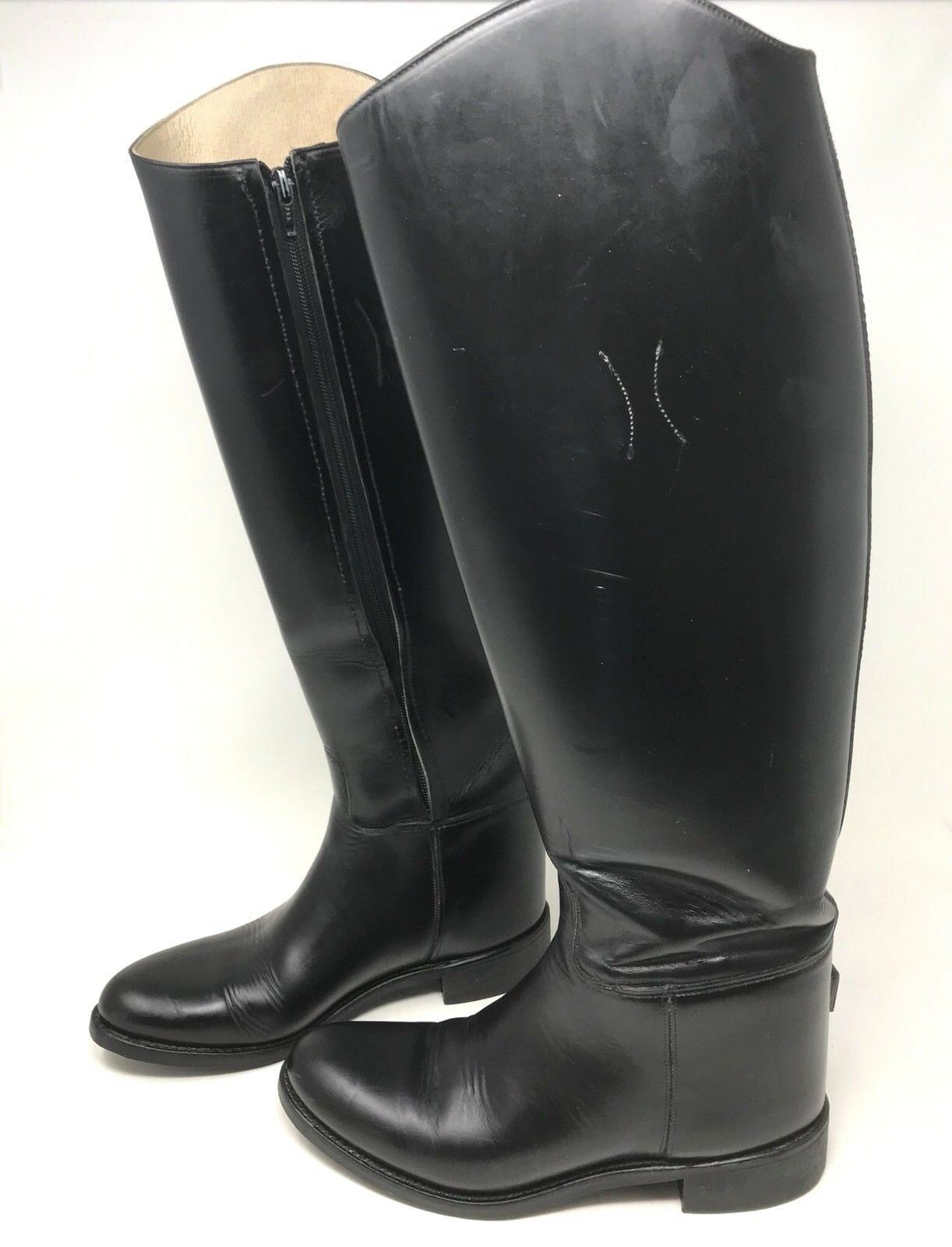 THE EFFINGHAM TALL LEATHER RIDING EQUESTRIAN BOOTS SIDE ZIPS WOMEN'S Size 7.5