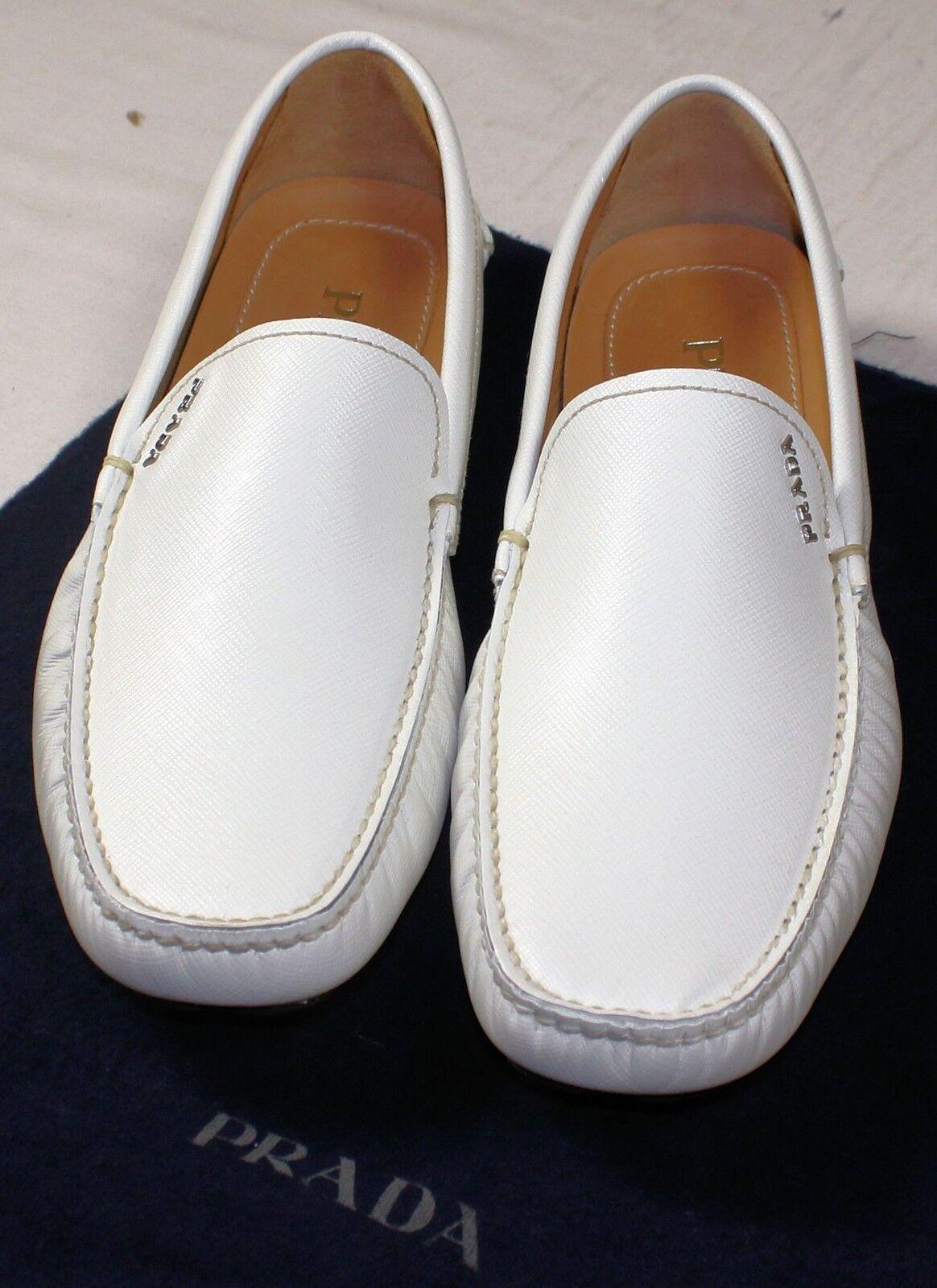 Scarpe casual da uomo  PRADA SHOES WHITE SAFFIANO LEATHER LOGO SCRIPT ORNAuomoTED DRIVER 7.5 40.5 NEW