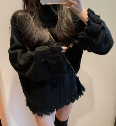 Womens Loose Lazy Style High Neck Tassel Long Sleeves Knitted Sweater Tops G948