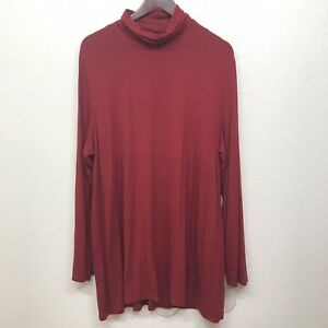 J-Jill-Red-Tunic-Top-Blouse-Size-XL-Petite-Stretch-Turtle-Neck-Long-Sleeve-Top