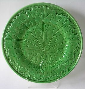 Image is loading THREE-BEAUTIFUL -BORDALLO-PINHEIRO-GREEN-LEAF-MAJOLICA-STYLE- & THREE BEAUTIFUL BORDALLO PINHEIRO GREEN LEAF MAJOLICA STYLE 11 ...