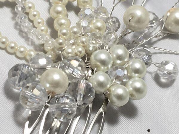 * Matrimonio * Pearl & Clear Ab Crystal Fiore Per Capelli Pettine Sposa Damigella D'onore Sil/oro Ampia Fornitura E Consegna Rapida