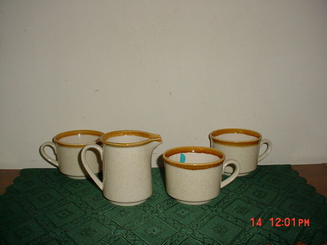 """4-PC MIKASA """"STONE MANOR"""" CREAMER-COFFEE CUPS/JAPAN/F5800/REPLACEMENTS/CLEARANCE"""
