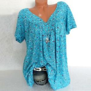 Plus Size Women Short Sleeve T-Shirt V Neck Summer Casual Baggy Blouse Top Shirt
