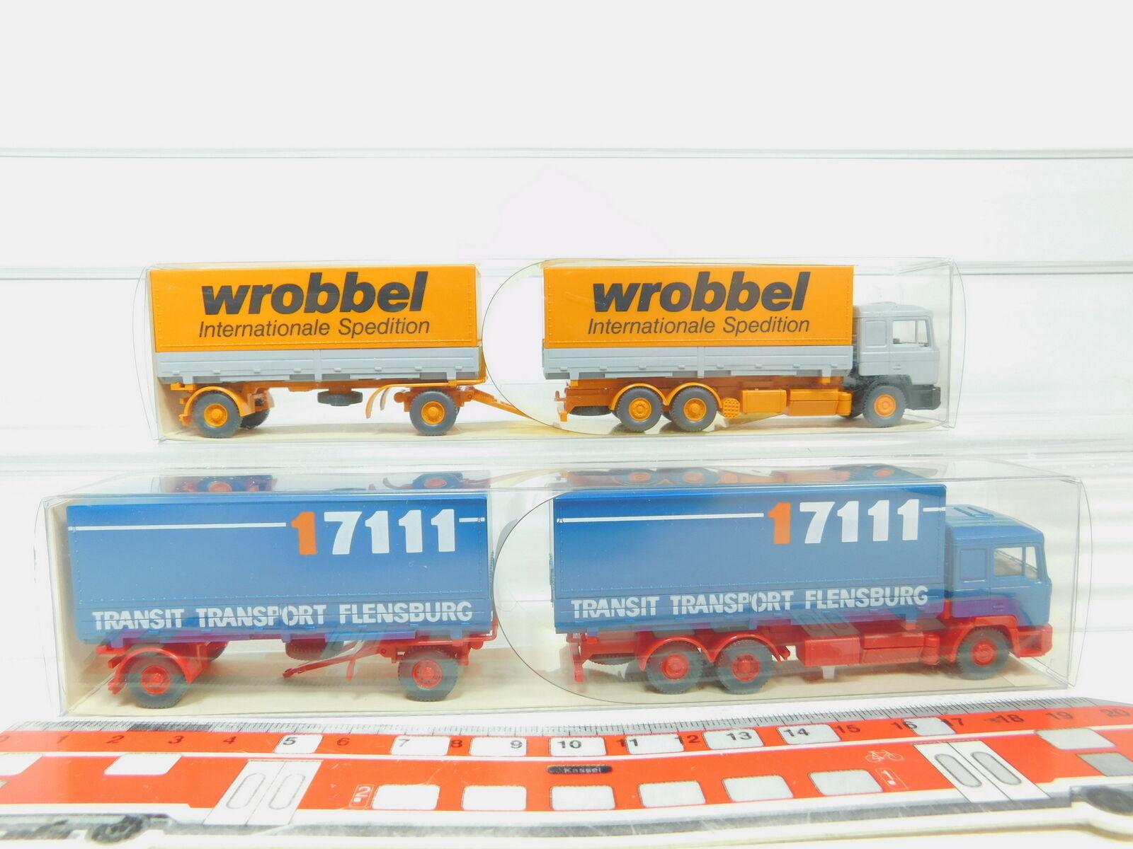 BN32-0,5x Wiking H0 1 87 570 30 30 30 Lastzug LKW MAN  Wrobbel + 17111, NEUW+OVP f0985b
