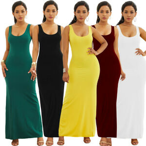 Details about Plus Size Womens Casual Long Dress Simple Tank Solid Color  Sleeveless Maxi Dress