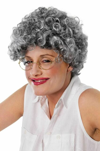 Adult Old Lady Curly Wig Grey Granny Old Women Fancy Dress Accesories 5e4f2a2af6