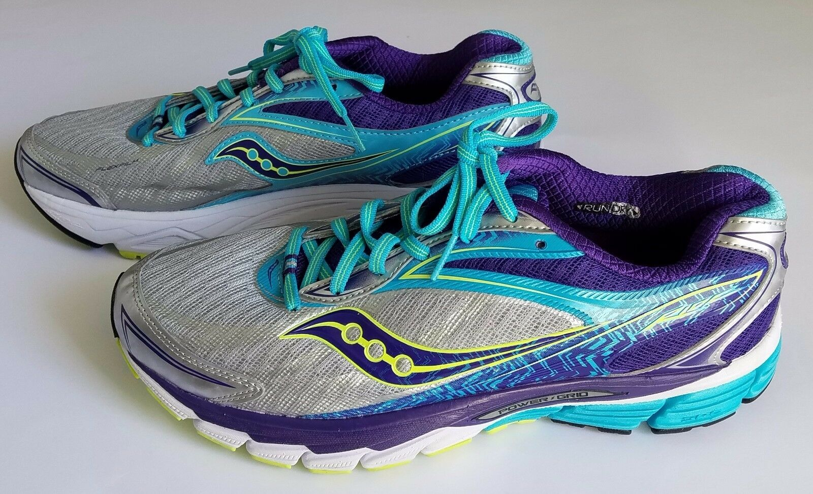 Saucony Ride 8 Womens S10273-1 Silver Purple Blue Running Training Shoes Size 11