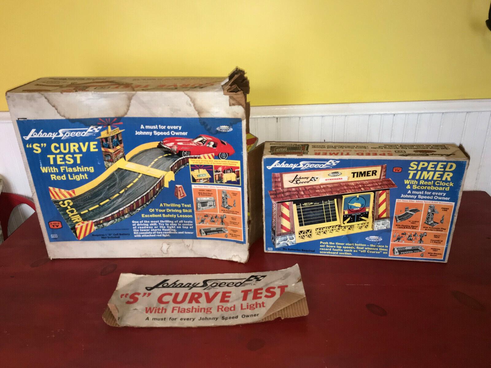 Vintage 1960's Topper Toys Johnny Speed Speed Timer & S Curve Test Set Lot