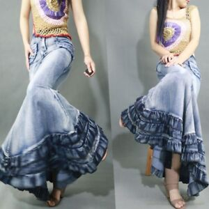 Chic-Womens-Denim-Jeans-Fishtail-Skirts-Lotus-Long-Hip-Skirts-Splice-Dress-Sz