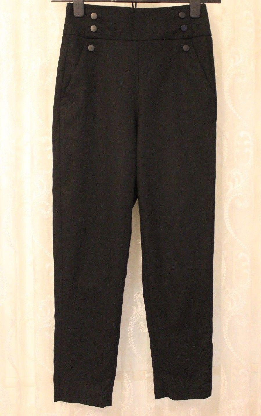 Karen Millen Noir Taille Haute marin Clous Capri Crop Pantalon 10 12 PA048