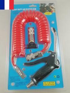 Pistolet Soufflette à Air Comprimé Buse 120mm + Raccord + Tuyau Spirale 5M max