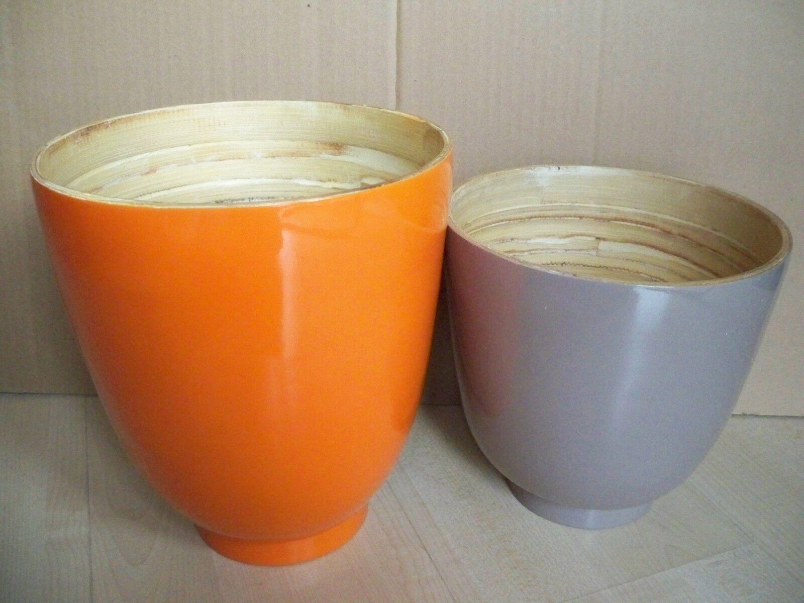 Bambus-Schalen-Set 2-teilig  Impressionen lackiert extra groß Orange Grau