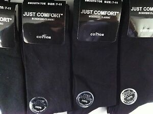 6-X-NEW-COTTON-MENS-WORK-BUSINESS-DRESS-SOCKS-BLACK-7-11-OR-KING-SIZE-11-14