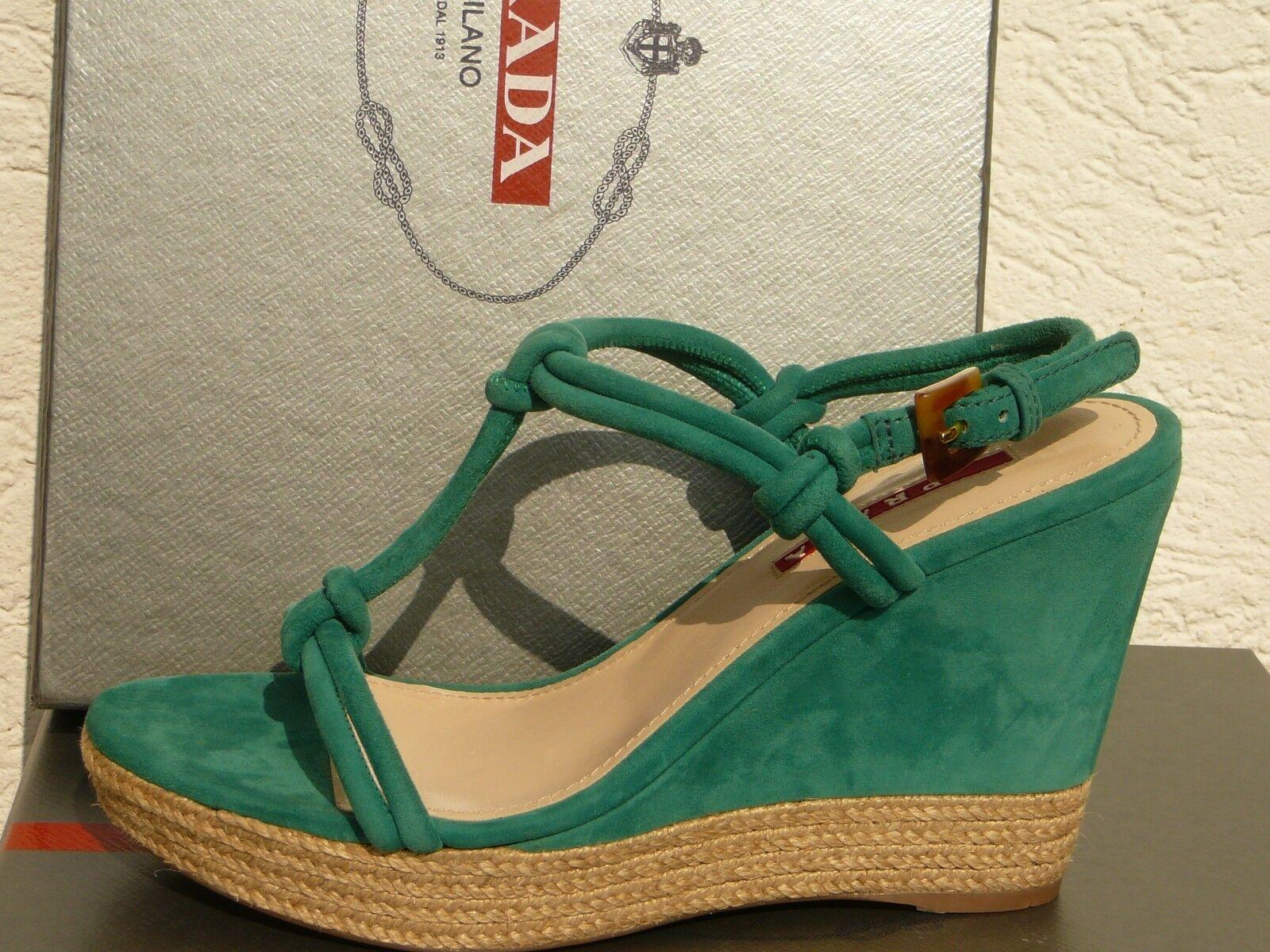 Nuevo En En En Caja zapatos Prada de Coral verde De Gamuza De Cuero Cuerda Tejida plataforma 3xz113 Cuña 837def