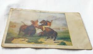 Antique-Postcard-The-Buffalo-Hunt-Color-Lithograph-Native-American