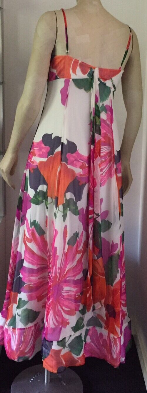 Coast Tropical Print Silk Ggt Maxi Maxi Maxi Dress - Multi   Size 12 - BNWOT - RRP 31aad7