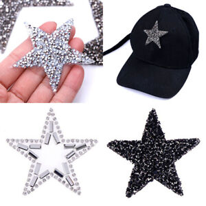 Star-Badges-Fabric-Iron-On-Patches-Transfers-Rhinestone-Applique-Cloth-Decor