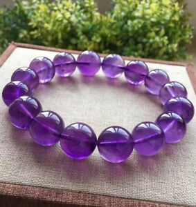 100/% naturel Uruguay Amethyst Cristal de Quartz Round Beads Stretch Bracelet 10 mm
