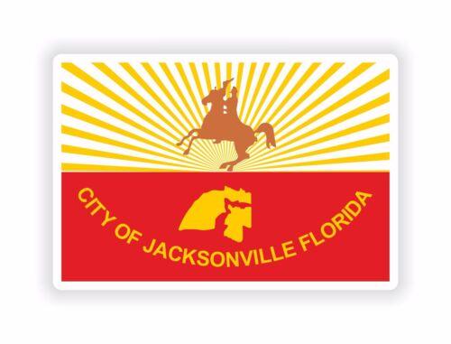 1x Sticker Jacksonville City Flag Florida for Bumper Hard Hat Laptop Tablet Door