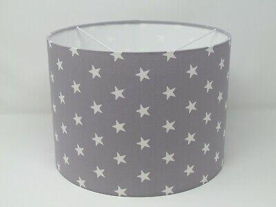 Light Grey Star Lampshade Shade, White Childrens Lampshade