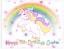 RAINBOW-UNICORN-PERSONALISED-EDIBLE-BIRTHDAY-CAKE-TOPPER-A4-CIRCLE thumbnail 1