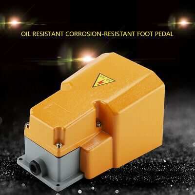 250V 10A Industrial Foot Switch Aluminum Alloy Oil Resistant Corrosion-resistant Foot Pedal On//Off Switch with Guard