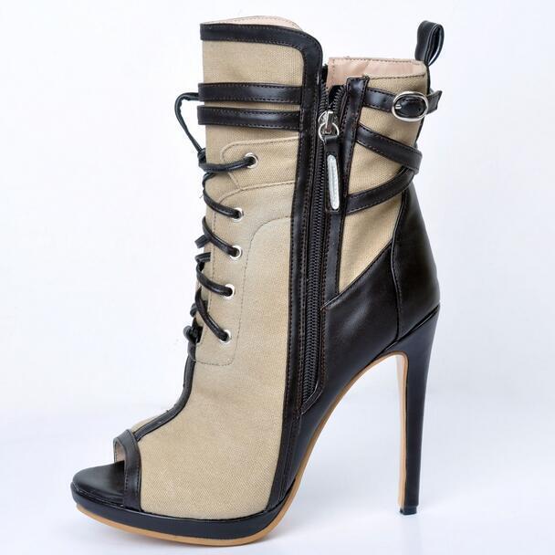 Sz35-47 Women's High Heels Lace Up Open Toe Punk Stilettos Boots Sandals shoes